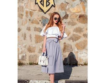 Striped Skirt / High Waist Midi Skirt / Midi Skirt / Skirt With Belt / Midi Women's Skirts / Summer Skirt / Women's Skirt /Cotton Skirt