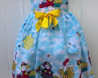 Girl Easter dress,Easter bunny dress,Girls Easter dress,Easter sleeveless sun dress,Toddler girl Easter dress,Light blue,Pink and Yellow