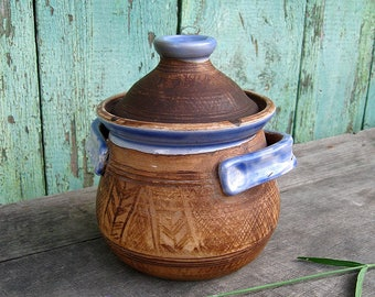 Casserole pot with lid Small size Clay cookware Stoneware Handmade pottery pot for soup Sugar bowl Pottery bowl Art pottery  Made in Ukraine