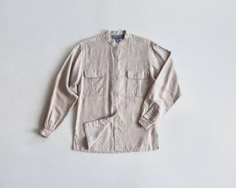 neutral stripe blouse / vintage cotton button down shirt / mandarin collar top / womens S