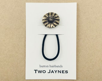 Hairband – Gold Metal Button, Sunflower Inspired (single)