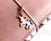 Bright Unicorn Coloured Enamel Metal Alloy Charm | Planner Travellers Notebook Charm | Kikki K, Filofax, HP, EC, Midori, Fauxdori, TN |