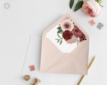 Envelope Liners, Printable Liner, Pink Envelope Liner, Floral Envelope Liner, Envelope Liner, A7 Envelope Liner, Instant Download, #IBP