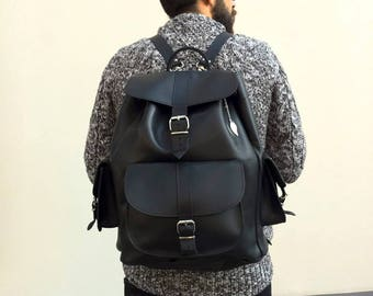 Leather Backpack Men, Leather Rucksack, Black Leather Backpack, Working Bag, Made in Greece from Full Grain Leather, EXTRA LARGE.