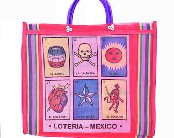 Loteria mercado bag, mexican bag, mexican market bag, mexican mesh bag, mexican grocery bag, mesh market bag, mexican tote bag, beach bag