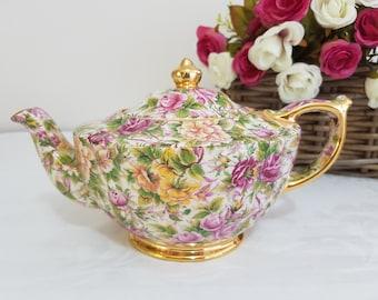 Sadler Chintz Large Tea Pot Heavy Gilt, Made in England