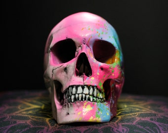Rosea - Hot Pink Paint Splash Life Size Realistic Faux Human Skull Replica with Removable Jaw / Art / Ornament / Home Decor