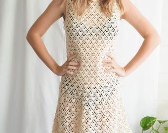 vintage cream crochet knitted mini dress
