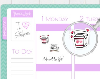 Chinese Food Planner Stickers, Planner Stickers, Takeout Food Stickers, Food Stickers, Calendar Stickers, Small Kawaii Stickers, Labels