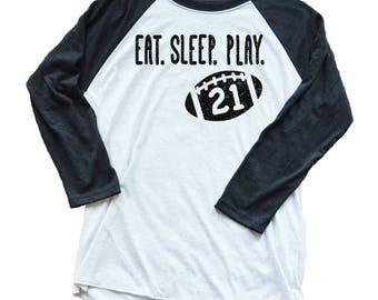 Personalized Unisex Football Shirt - Eat Sleep Play Football - Game Day Shirt - Football Mom -Unisex - Custom Football Jersey - Game Day