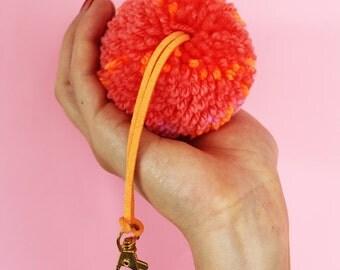 Polka Dot Pattern Pom Pom Keyring - Bag/Purse/Key Accessory