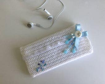 Anniversary gift Smartphone case party Crochet Ribbon white Acryl Pearl White sheep white blue - all Crochet iPhone Samsung Cover