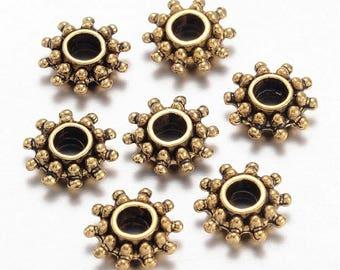 Perles Soleil,  par 20/40 pcs, métal, style ethnique- bohème, or antique, séparateur de perles, 9 x 3 mm, trou de 3 mm