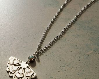 Sterling Silver Fan Necklace - White Opal Pendant - Silver Lace Necklace - Solid Silver & Opal Pendant - Opal Bridal Necklace - Lace