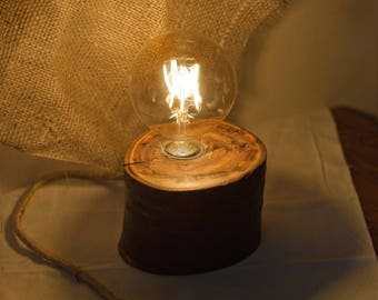 Wood lamp Wooden lamp Wood log lamp Wooden Table Lamp Home Decor Rustic lamp Cherry tree lamp Desk Light Stump light Edison LED lamp