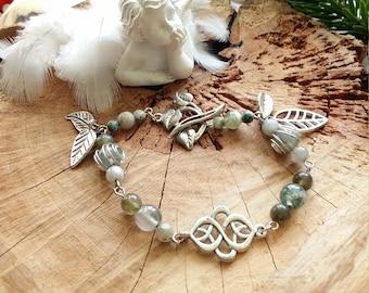 Bracelet en agate mousse et en agate arbre - Pierre de joie et d'harmonie avec la nature - par  AngelS SignS