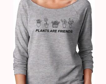 Vegan shirt, off shoulder shirt, off shoulder sweater, slouchy, off the shoulder, plants are friends, vegetarian shirt, women off shoulder