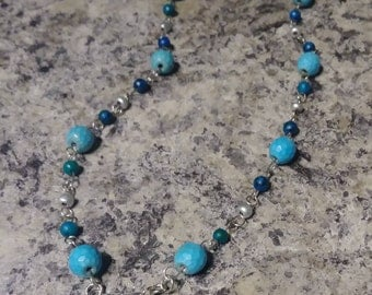 Turquoise & Silver Dragonfly Beaded Necklace