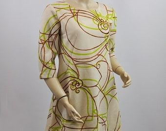 Vintage 1970's Patterned A Line Shift Mini Dress