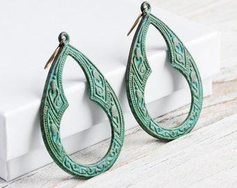 Large Verdigris Green Patina Keyhole Teardrop Earrings on Antiqued Brass Hooks (Hand Patina)