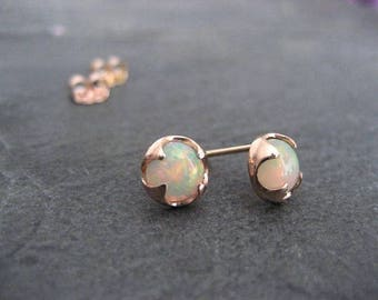 Welo opal studs, 14k rose gold, Ethiopian opal, October birthstone, round opal studs, multi color cabochon, rose gold studs, genuine opal