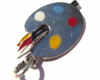 Sterling Silver Paint Palette Charm, Painting Charm, Painters Charm, Paint and Brush Charm, Gift for Artist, Charm for Charm Bracelets