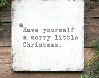 Merry Little Christmas Sign, Christmas Decor, Farmhouse Christmas Sign, White Christmas, Christmas Song Signs