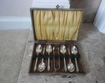 EPNS Apostle Teaspoons and Sugar Tong Set, Boxed Apostle Spoons