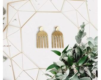 Gold tassel leather earrings | Modern chandelier earrings | Gold fringe earrings | Contemporary earrings | African earrings | Leather drops