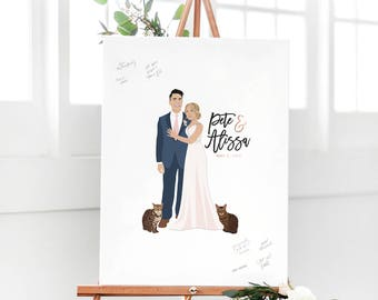 Wedding Guest Book Alternative Paper or Canvas with Portrait for Fun Wedding Guest Book Alternative Sign in Board by Miss Design Berry