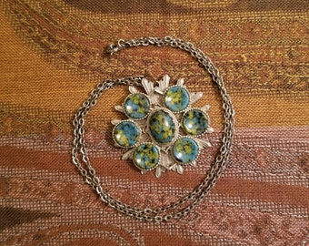Vintage 1960's - 1970's Silver Tone Necklace With Starburst Faux Turquoise Pendant