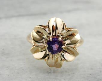 Vintage Purple Sapphire Flower Ring, Purple Sapphire Ring, Vintage Flower Ring, Gold Flower Ring HA29C9-R