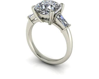 Cushion Cut Forever One Moissanite Engagement Ring, 8 mm, 2.45 carats, 18k White Gold, Diamond Baguettes, Ethical Diamonds
