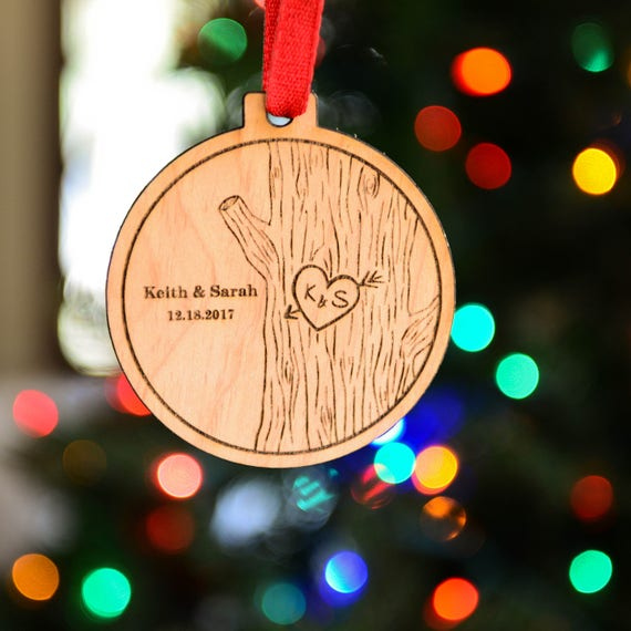 Personalized Wood Ornament - Couple Gift - Stocking Stuffer - Holiday Gift for Newlyweds - Mr. and Mrs. Wedding Gift