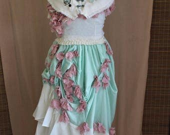 Bohemian Eco Steampunk Victorian Gown (3 Piece Bustle Dress with Floral Buds) Custom Size