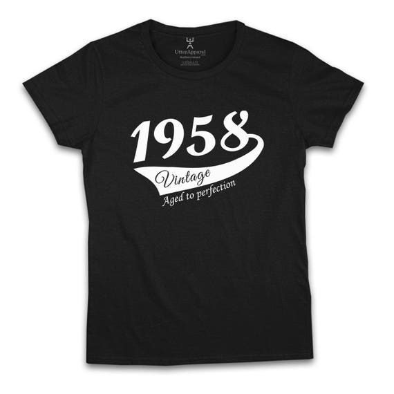 60th Birthday Gift For Woman 1958 Vintage T shirt ideal present for women celebrating a sixtieth birthday, medium large xl 2xl
