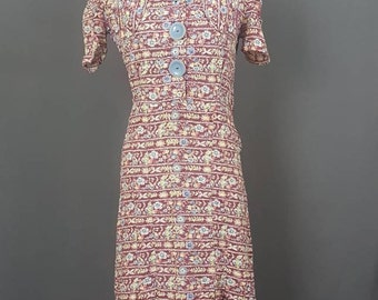 1930's Floral Print House Dress