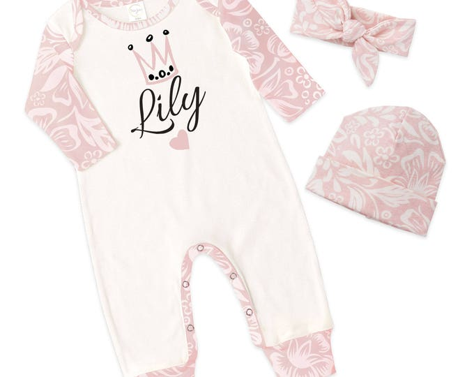 Personalized Baby Girl Take Home Bodysuit Romper, Baby Name Romper, Customized Baby Girl Romper, PinkTesaBabe RC810IYFQ63XXX pers girl