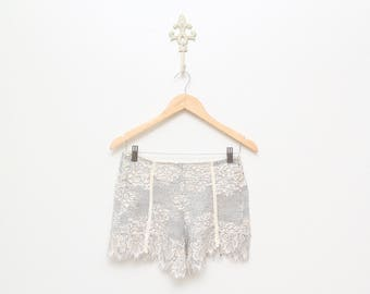 Lace and Velvet Ribbing Unerwear Shorts