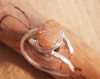 Druzy and sterling silver ring