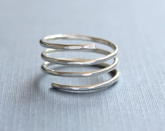 Wrap ring, adjustable ring, Sterling silver Spiral ring, hammered ring stack, trinity ring, handmade modern ring