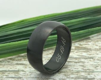 8mm Black Tungsten Ring, Engraved Wedding Date Ring, Roman Numeral Ring, Coordinates Ring, Custom Promise Ring for Him, Initial Ring for Her