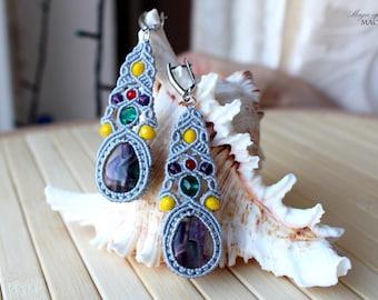 Fluorite micro macrame earrings, gray-blue earrings, handmade jewelry, original gifts for her, dangle earrings, Sterling Silver ear wires