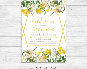 Spring Bridal Shower Invitation, Yellow Bridal Shower Invitation, Floral Bridal Shower Invitation, Yellow Floral Party Invitation, *DIGITAL*