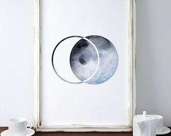 Moon Print/ Printable Art/ Moon Poster/ Watercolor Moon Print/ Geometric Moon Print/ Moon Phase Print/ Modern Moon Art Print/ Geometric Art
