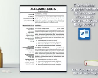 resume template instant download 1 2 pages cv template professional resume template - Pages Resume Template