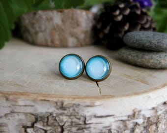 Uranus Stud Earrings,  Antique Bronze, Glass Cabochon, Space Jewelry