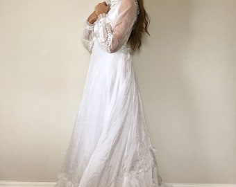 Vintage Wedding Dress With Train and Button Details