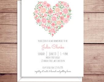 Bridal Shower Invitations - Rose Shower Invitations - Wedding Shower Invitations - Floral Shower Invitations - Floral Heart Invitations