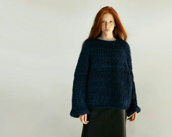 Chunky knit gift, Clothing-gift, Oversized chunky sweater, Knit oversized sweater, Merino sweater, merino wool, dark blue sweater handmade